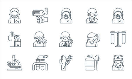 virus transmission line icons. linear set. quality vector line set such as nurse, injection, microscope, medicine, test tube, soap, temperature, doctor, thermometer