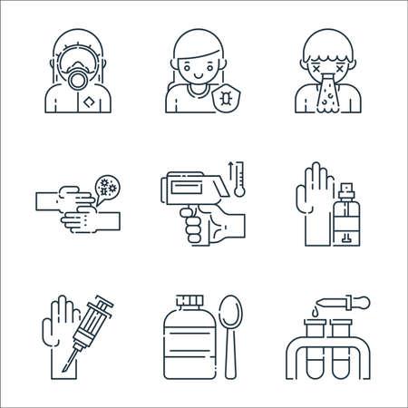 virus transmission line icons. linear set. quality vector line set such as test tube, medicine, injection, hand sanitizer, thermometer, virus transmission, puke, immune