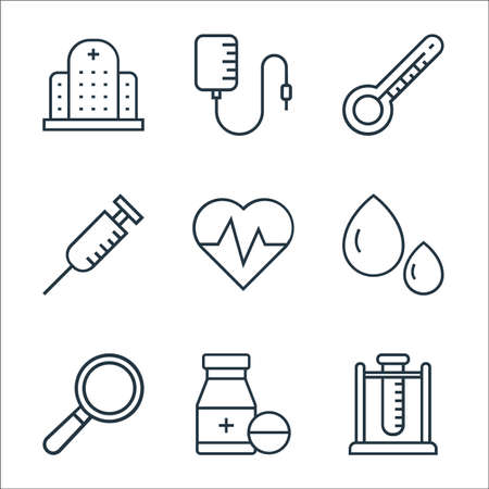 medical tools line icons. linear set. quality vector line set such as test tube, medicine, loupe, blood drop, cardiogram, syringe, thermometer, blood transfusion