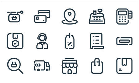 shopping line icons. linear set. quality vector line set such as box, shop, search, shopping, delivery, shield, list, cash register, cit card