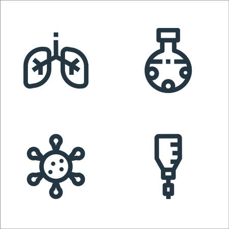 medical line icons. linear set. quality vector line set such as drips, virus, chemical