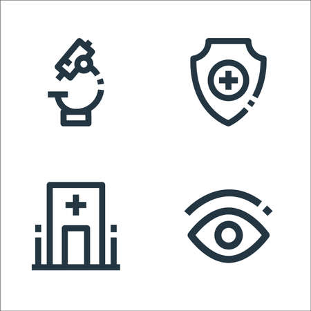 medical line icons. linear set. quality vector line set such as eye, hospital, health insurance Ilustrace
