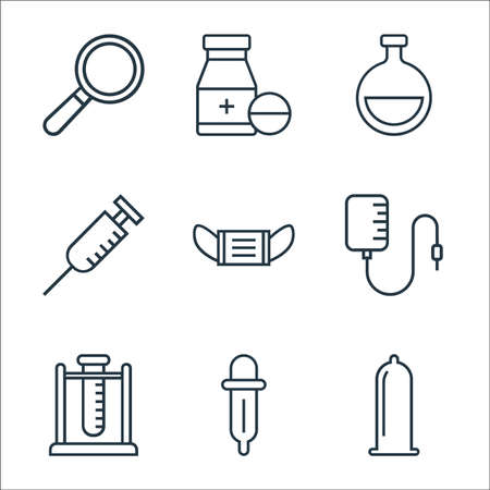 medical tools line icons. linear set. quality vector line set such as condom, pipette, test tube, blood transfusion, mask, syringe, flask, medicine
