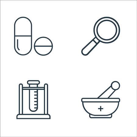 medical tools line icons. linear set. quality vector line set such as mortar, test tube, loupe