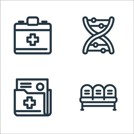 medical tools line icons. linear set. quality vector line set such as waiting room, document, dna Ilustrace