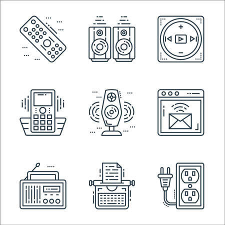 technology devices line icons. linear set. quality vector line set such as extension cord, typewriter, radio, email, woofer, cordless phone, multimedia option, woofer