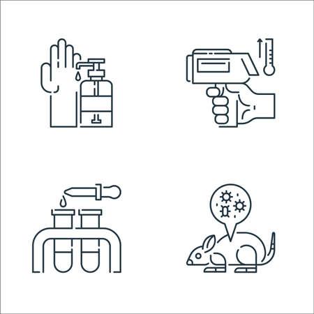 virus transmission line icons. linear set. quality vector line set such as mouse, test tube, thermometer Ilustração