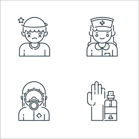 virus transmission line icons. linear set. quality vector line set such as hand sanitizer, hazmat, nurse