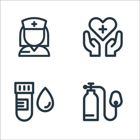 medical tools line icons. linear set. quality vector line set such as oxygen, blood sample, healthcare Ilustração