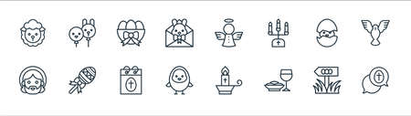 easter line icons. linear set. quality vector line set.