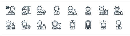 key workers line icons. linear set. quality vector line set.
