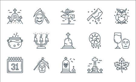 spooky halloween line icons. linear set. quality vector line set. Ilustracja