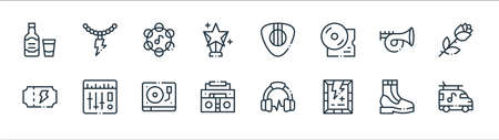 rock n roll line icons. linear set. quality vector line set.