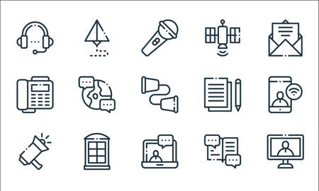 communication line icons. linear set. quality vector line set.