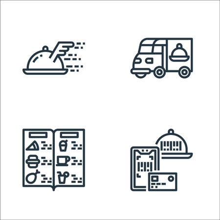 food delivery line icons. linear set. quality vector line set.