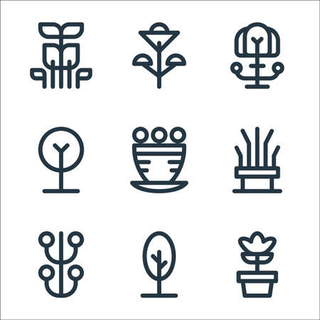 tree and plant line icons. linear set. quality vector line set.