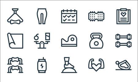 pilates line icons. linear set. quality vector line set.