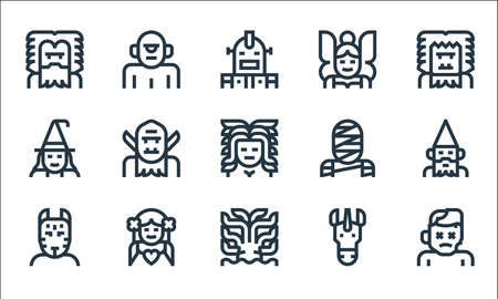 fantastic characters line icons. linear set. quality vector line set.