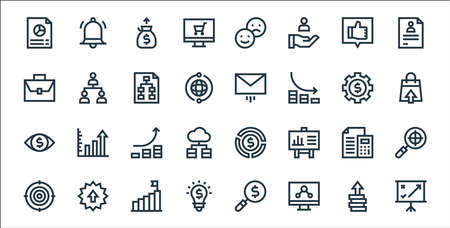 marketing and growth line icons. linear set. quality vector line set.