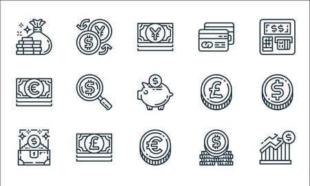 money and currency line icons. linear set. quality vector line set.