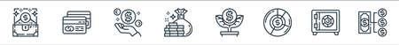 money and currency line icons. linear set. quality vector line set such as money management, safe box, pie graph, money tree, cit card Illusztráció