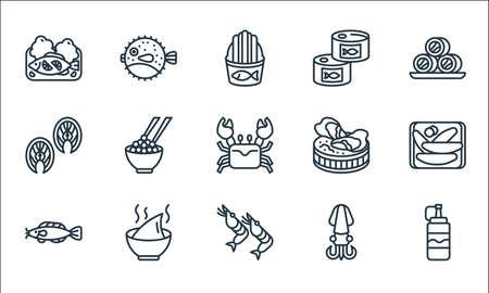 seafood line icons. linear set. quality vector line set.