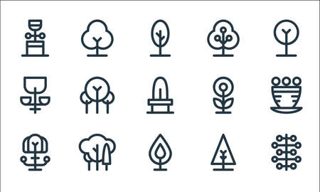 tree and plant line icons. linear set. quality vector line set such as seeds, leaf, plant, christmas tree, jungle, bloom, flower, beech, tree