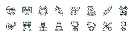 autoracing line icons. linear set. quality vector line set such as piston, conveyor belt, traffic cone, turbo, spark plug, racing, gear shift, race