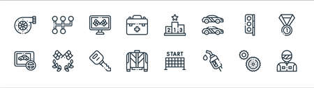 autoracing line icons. linear set. quality vector line set such as racer, gasoline, uniform, game, traffic light, race, podium, gear shift