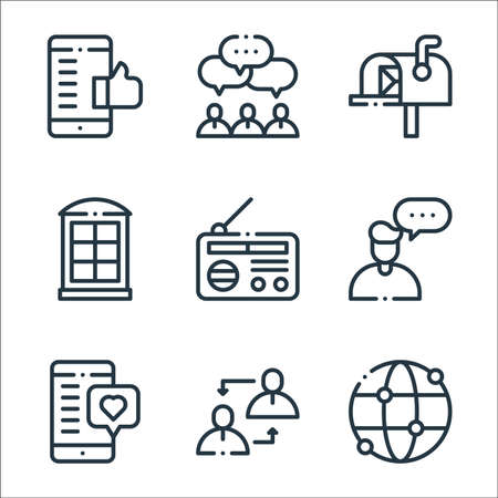 communication line icons. linear set. quality vector line set such as worldwide, communication, chat, user, radio, phone booth, mailbox, team Ilustracje wektorowe