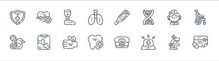 medical services line icons. linear set. quality vector line set.