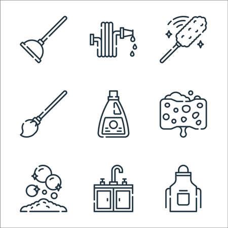 cleaning line icons. linear set. quality vector line set such as apron, sink, handwash, sponge, bleach, mop, duster, water hose