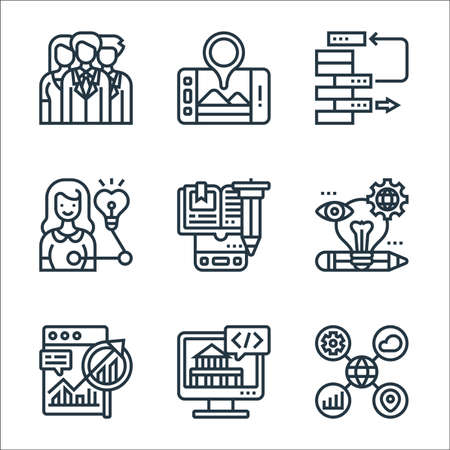 digital transformation line icons. linear set. quality vector line set such as data classification, digital services, long term planning, creativity, e learning, insight, scrum, roadmap