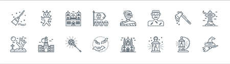 spooky halloween line icons. linear set. quality vector line set such as witch hunt, lantern, bats, scary, axe, haunted house, mummy, voodoo doll