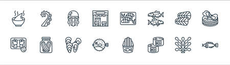 seafood line icons. linear set. quality vector line set.