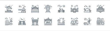 tourism line icons. linear set. quality vector line set such as double decker bus, caravan, cruise ship, sunrise, desert, bridge, cycle, luggage Illusztráció