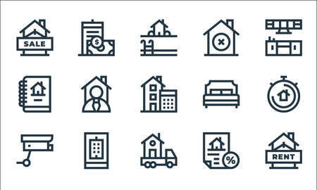 real estate line icons. linear set. quality vector line set such as rent, moving truck, cctv, discount, real estate, report, bedroom, discard, flat
