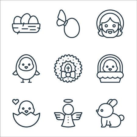 easter line icons. linear set. quality vector line set such as bunny, angel, chick, chick, wreath, chick, jesus, egg