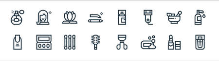 beauty line icons. linear set. quality vector line set such as parfum, soap, hairbrush, manicure, herbal, lotus, hair spray, beauty