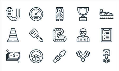 autoracing line icons. linear set. quality vector line set such as piston, seat belt, money, piston, steering wheel, traffic cone, racer, trophy, speedometer Ilustracja