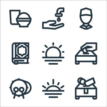 ramadhan line icons. linear set. quality vector line set. Illusztráció
