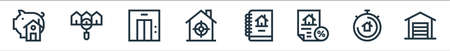 real estate line icons. linear set. quality vector line set such as garage, chronometer, discount, report, target, elevator, house