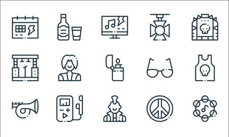 rock n roll line icons. linear set. quality vector line set such as tambourine, punk, trumpet, peace, mp player, stage, sunglasses, spotlight, whiskey