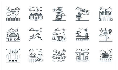 tourism line icons. linear set. quality vector line set.