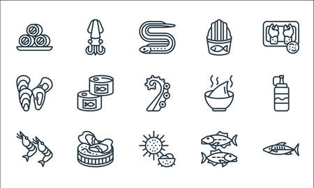 seafood line icons. linear set. quality vector line set such as mackerel, sea urchin, shrimp, sardine, oyster, mussel, soup, fried fish, squid  イラスト・ベクター素材