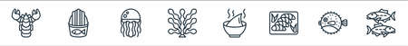 seafood line icons. linear set. quality vector line set such as sardine, puffer fish, sashimi, soup, seaweed, jellyfish, fried fish
