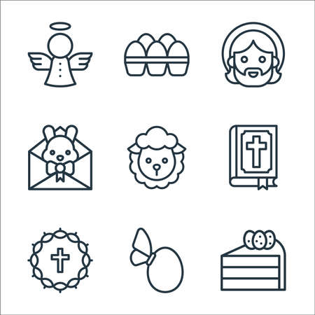 easter line icons. linear set. quality vector line set such as cake, egg, crown of thorns, bible, sheep, letter, jesus, eggs