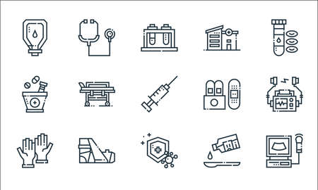 medical services line icons. linear set. quality vector line set such as electrocardiogram, immune system, rubber gloves, syrup, fracture, herbal treatment, plaster, hospital, stethoscope