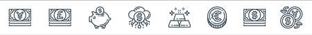 money and currency line icons. linear set. quality vector line set such as money exchange, dollar bills, euro coin, gold bars, digital currency, piggy bank, pound bills