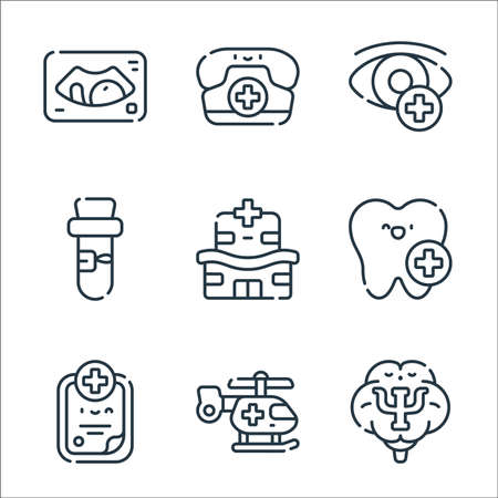 medical services line icons. linear set. quality vector line set such as psychology, helicopter, medical history, dental care, hospital, test tube, ophtalmology, call